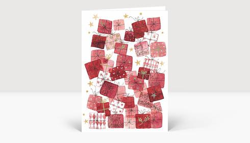 Weihnachtskarte Bescherung Rot