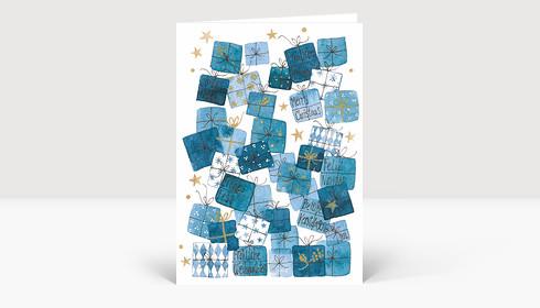 Weihnachtskarte Bescherung Blau