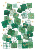 Weihnachtskarte Bescherung Grün