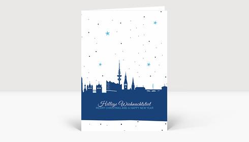 Weihnachtskarte Hamburg Skyline Sternenhimmel blau
