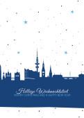 Weihnachtskarte Hamburg Sternenhimmel blau
