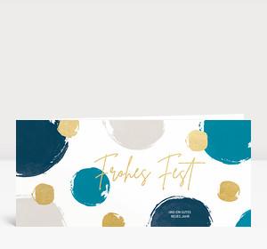 Weihnachtskarte Dots Blau