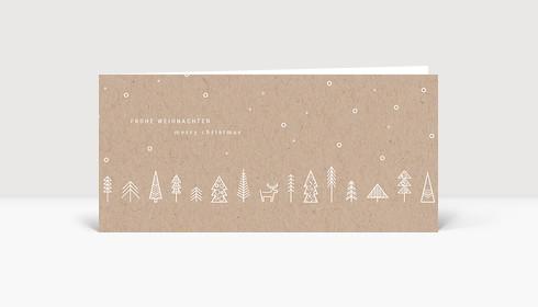 Weihnachtskarte Wäldchen Kraftpapier