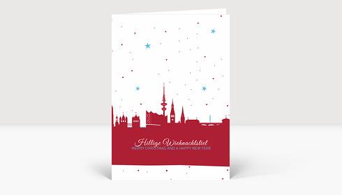 Weihnachtskarte Hamburg Skyline Sternenhimmel rot