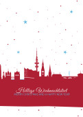 Weihnachtskarte Hamburg Sternenhimmel rot