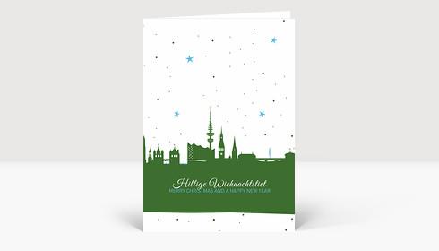 Weihnachtskarte Hamburg Skyline Sternenhimmel grün