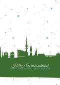 Weihnachtskarte Hamburg Sternenhimmel grün
