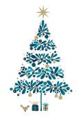 Weihnachtskarte Weihnachtstanne Blau