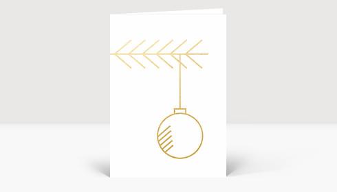 Weihnachtskarte Zweig mit Kugel