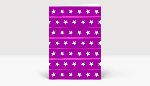 Weihnachtskarte Muster Sternenreihen violett