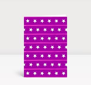 Weihnachtskarte Sternenreihen violett
