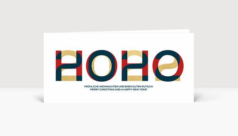 Weihnachtskarte HOHO 2021 Blau-Rot-Gold2