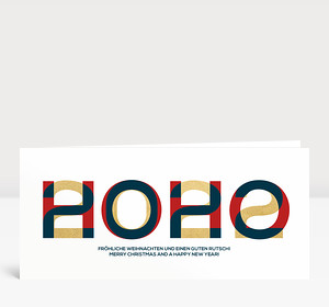 Weihnachtskarte HOHO 2022 Blau-Rot-Gold