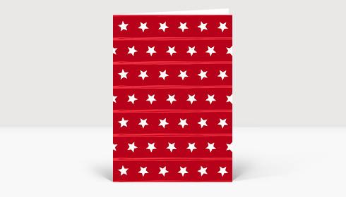 Weihnachtskarte Muster Sternenreihen rot