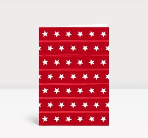 Weihnachtskarte Sternenreihen rot