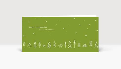 Weihnachtskarte Wäldchen Grün