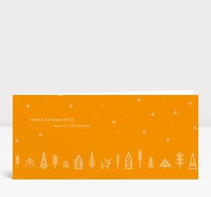 Weihnachtskarte Wäldchen Orange