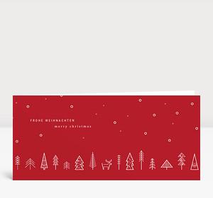 Weihnachtskarte Wäldchen Rot
