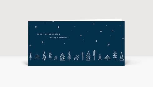 Weihnachtskarte Wäldchen Blau