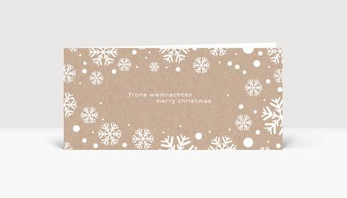 Weihnachtskarte Schnee Kraftpapier