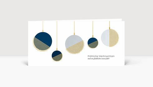 Weihnachtskarte Moderne Goldkugeln Blau