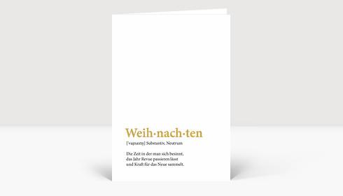 Weihnachtskarte Weih-nach-ten