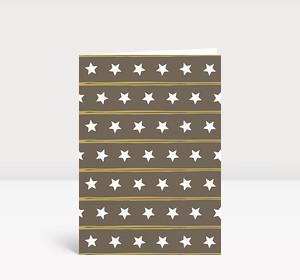 Weihnachtskarte Sternenreihen grau braun