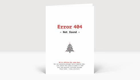 Weihnachtskarte Error 404 Red