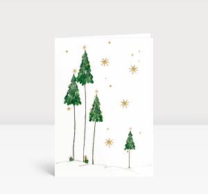 Weihnachtskarte Tannenbäume im Schnee