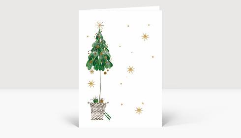 Weihnachtskarte Weihnachtsbaum im Korb