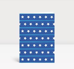 Weihnachtskarte Sternenreihen blau