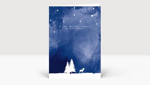 Weihnachtskarte Drauss' im Walde Blau