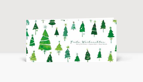 Weihnachtskarte Tannen International Grün