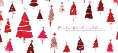Weihnachtskarte Tannen International Rot