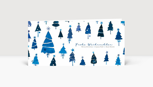 Weihnachtskarte Tannen International Blau