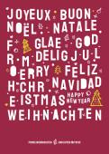 Weihnachtskarte Christmas Lettering Dunkelrot