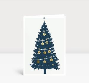 Weihnachtskarte Goldtanne Blau