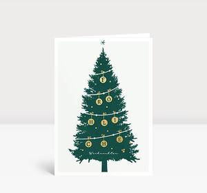 Weihnachtskarte Goldtanne Grün