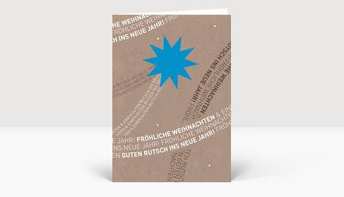Weihnachtskarte Komet blau mit typografischem Schweif auf Karte in Karton Optik
