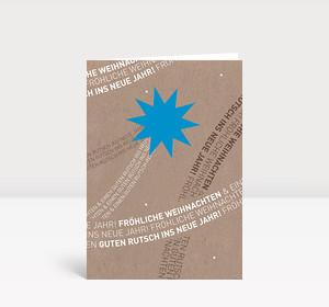 Weihnachtskarte Komet blau auf Karton