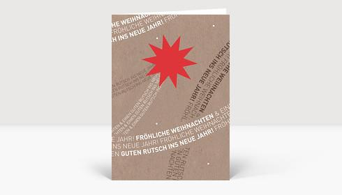 Weihnachtskarte Komet rot mit typografischem Schweif auf Karte in Karton Optik