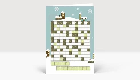 Weihnachtskarte Kreuzworträtsel weihnachtliche Landschaft blau grün