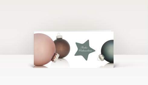 Weihnachtskarte kugelarrangement mit sternen in for Weihnachtskugeln altrosa