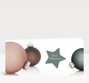 Weihnachtskarte Weihnachtskugeln & Stern kiefergrün
