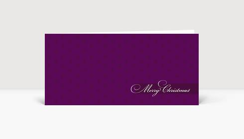 Weihnachtskarte Merry Christmas auf violetter Karte mit Ornamenten