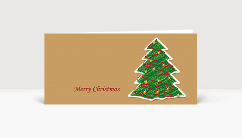 Weihnachtskarte Illustrierter Weihnachtsbaum auf Strukturpapier DIN Lang