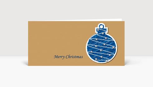 Weihnachtskarte Illustrierte blaue Weihnachtskugel auf Strukturpapier DIN Lang