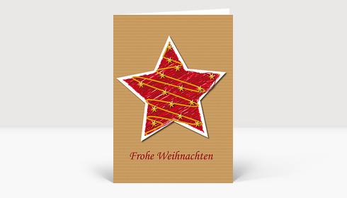 Weihnachtskarte Illustrierter Weihnachtsstern in rot auf Strukturpapier DIN A6