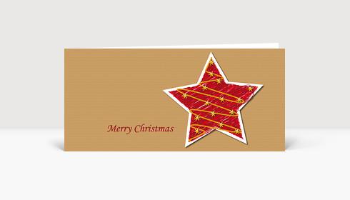 Weihnachtskarte Illustrierter Weihnachtsstern in rot auf Strukturpapier DIN Lang