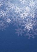 Weihnachtskarte Flockengestöber blau